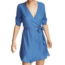 Mini Vestido 1. Estampado Animal Azul para Mujer Estado Flounce Envolvente Juniors 4 BHFO 5356