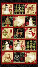 "23"" Fabric Panel - Studio E Winter Bliss Traditional Christmas Blocks"