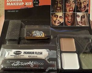 Zombie Make Up Kit Flesh, Blood, Black Tooth Face Paint New