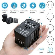 Universal Travel Adapter Wall Charger AC Power Converter w/ 2.4A 4 USB+TYPE-C