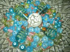 GLASPERLEN MIX/ 80 Stück Lampwork + Glasperlen hellblau-türkis-grün
