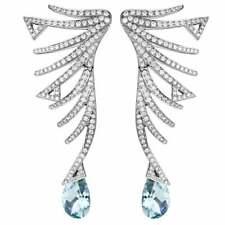 2.50 Ct Pear Aquamarine & Sim Diamond Silver Drop Earrings 14k White Gold Plated