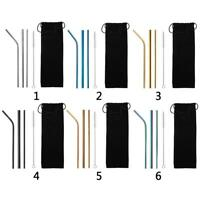 5pcs/Set Metal Drinking Straws Stainless Steel Drinks Straw Cleaner Reusable