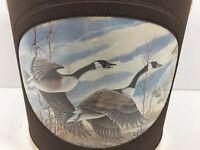 Vintage Norman R Wamer Ice Bucket Bar Flying Ducks Geese Birds In Flight MCM
