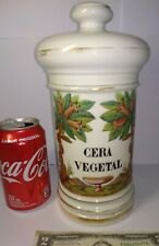 Antique VEGETABLE WAX Porcelain Large Apothecary Jar Circa 1900's trees DOFFIGNY