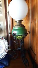 Vintage Oil Lamp w/ Floral Painted Glass Iron Base -2 Electrified lamps c1990