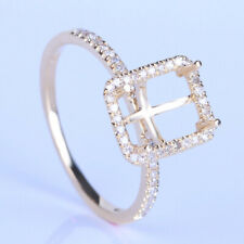 SEMI MOUNT EMERALD 8x6MM 14K YELLOW GOLD PAVE DIAMONDS ENGAGEMENT RING JEWELRY