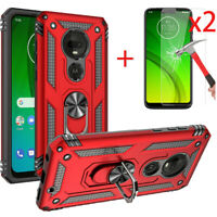 For Motorola Moto G7/Plus/Power/Supra/Play Case Ring Stand Clip/Screen Protector