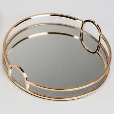 Spiegeltablett MODERN GOLD rund D. 28cm kupfer gold Glas + Metall Formano W19