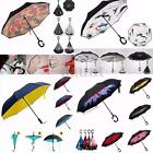 Double Layer Windproof Upside Down Reverse Umbrella Inside-Out Inverted C-Handle