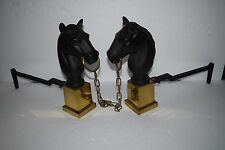 Vintage Cast Iron Horse Head & Brass Fireplace Andirons