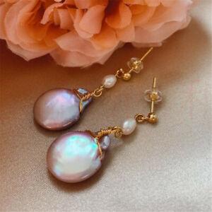 Natural Pearl gold Earrings eardrop 18K Chain girl Gift Party Wedding Freshwater