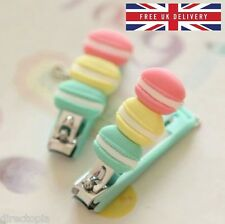 French Macaron Nail Clippers with Keychain Manicure Pedicure Fashion Kawaii