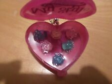 Hair accessories (shiny clips) in heart shaped case for Barbie size dolls. New