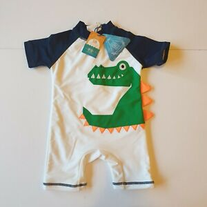 Next Baby Dinosaur UPF50+ Swimming Suit 9-12 Months White Green New With Tags
