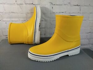 EUC women's SPERRY TOP SIDER canary yellow MID RAIN BOOTS - size 7 / awesome