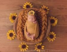 Chunky Baby Mustard Merino Blanket Newborn Photography Prop Baby Basket