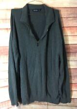 Nautica Men's Big & Tall Quarter Zip Knit Sweater Gray 3XLT