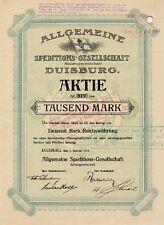 Allgemeine Speditions-Gesellschaft Duisburg histor Aktie 1912 Rhenania Wincanton
