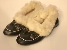 Vintage Mid Century Soft Sole 4.5 Black Bow Rabbit Fur Trim Princess Slippers