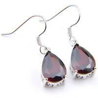 Handmade Jewelry Water Drop Natural Fire Red Garnet Silver Dangle Earrings