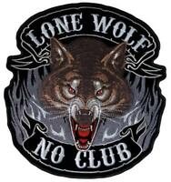 Lone Wolf No Club Large Biker Sew on Motorcycle Cruiser Bobber Patch