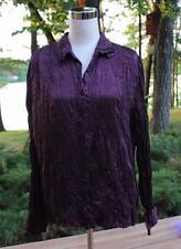 Purple 100% Silk Crinkle Shirt Blouse Apt 9 XL Work Career Button Front Dark