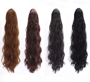 60CM Wavy Jaw Ponytail Clip in Hair Extension Claw Pony Tail Tape Up Hairpiece