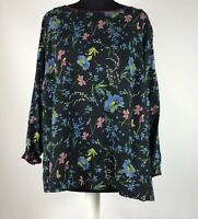 LAURA ASHLEY Size UK 18 Navy Blue Floral Print Cotton Long Sleeved Top