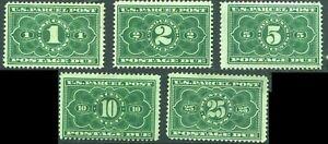 US 1913 PARCEL POST POSTAGE DUE Set Scott # JQ1-JQ5 Mint Hinged