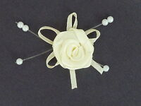 10 BEAUTIFUL IVORY 2.5CM SATIN ROSEBUDS ON SATIN BOW WITH BEADS ref B40