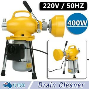 AU Drain Cleaner Electric Drain Cleaning Plumbing Sewerage Pipe Machine+Cutters
