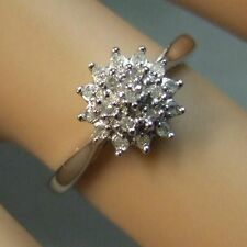 9ct gold Second white gold diamond cluster ring