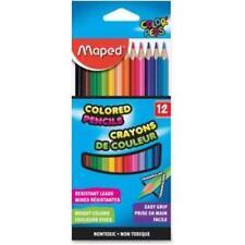 Helix Woodcase Colored Pencils - Assorted Lead - Wood Barrel - 12 / Box
