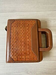 Brown Cognac Leather Franklin Quest Binder Planner Cover Notebook Woven USA