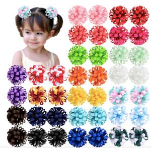 "3"" Cute Hair Ball Loop Flower Grosgrain Ribbon Fully Lined Hair Clips Girls 2pcs"