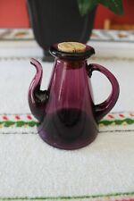 Vintage Blown Glass Cruet in Teapot Coffee Server Shape Deep Amethyst Purple