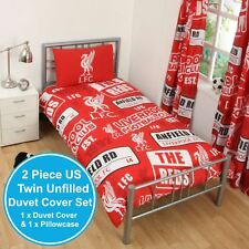 LIVERPOOL FC PATCH UK SINGLE / US TWIN UNFILLED DUVET COVER & PILLOWCASE SET NEW
