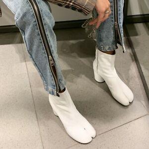 Womens Tabi Split Toe Bootie Block Heel Side Zip Ankle Boots Leather Shoes 34-40