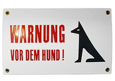 Emailschild WARNUNG VOR DEM HUND 15x25 cm -NEU- 10 J. Garantie Warnschild Blech
