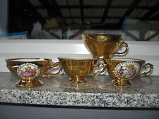 4 TASSES  Porcelaine  BAVARIA  TOUT OR ET FRAGONARDS