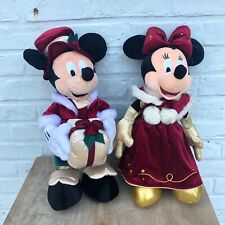 "Lot 2 peluches Disney Mickey et Minnie""collectors Christmas""VINTAGE Euro Disney"