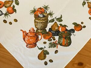 Vintage holiday tablecloth Thanksgiving Christmas novelty MCM cotton fabric