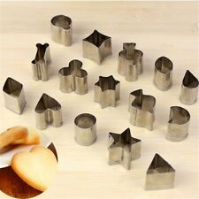15pcs/set Diy Stainless Steel Cake Cutter Mould Mold Geometry Shape Cookies
