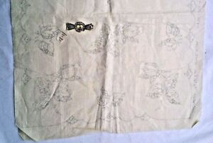 Progress Rose 1015/93 Stamped Pattern Off White Linen Cut Work 45 X 18 inches