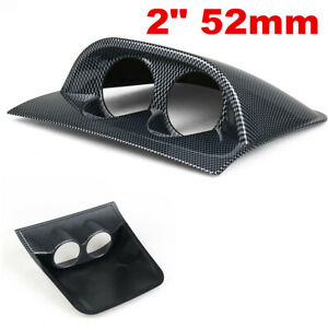 Carbon Fiber Look 2in Car Interior 2 Hole Dash Gauge Pod Mount Holder Universal