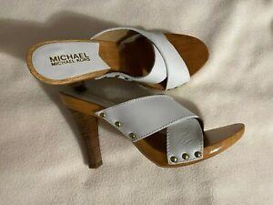 "Michael Kors South Side Hi Criss Cross White Leather 8M 3"" heel NIB new 2006-7"