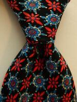 FEDERIGO by BRIONI Men's Silk Necktie ITALY Luxury Geometric Black/Red/Blue GUC