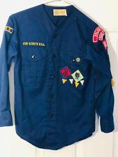 Vintage BSA Boy Cub Scout Uniform Shirt Patches Webelos Ribbons Pledge Pin