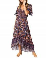Gorgeous new summer flower short bell sleeves boho midi dress hi low hem S